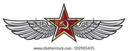 ussr star and wings (soviet star and wings) - stock photo