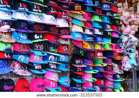 USTRONIE MORSKIE, POLAND - JULY 26, 2015: Many hats for sale at a souvenir shop