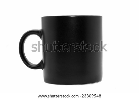 Usual  black office coffee mug isolated on white - stock photo