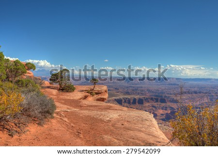 UT- Canyonlands National Park- Island in the Sky District- Grandview Trail. This image was captured on beautiful, almost cloudless day in October. - stock photo