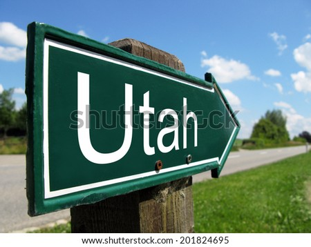 Utah arrow signpost along a rural road