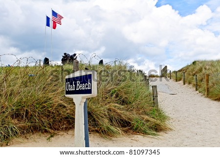 Utah beach with memorial statue in normandy france - stock photo
