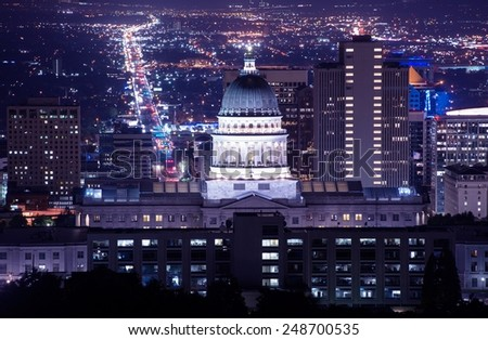 Utah Capitol Building in Salt Lake City. Night Time Panorama. - stock photo