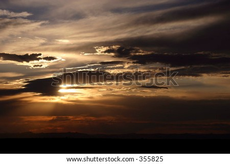 Utah Desert Sunset on Cedar Mesa - stock photo