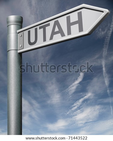 Utah road sign arrow pointing towards one of the united states of america signpost with clipping path