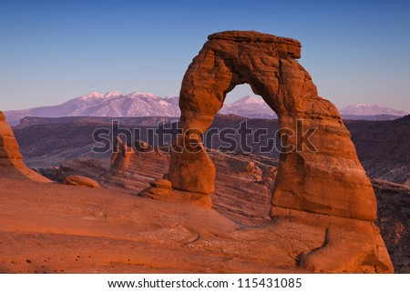 Utah's Delicate Arch at dusk - stock photo