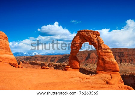 Utah's famous Delicate Arch in Arches National Park. - stock photo