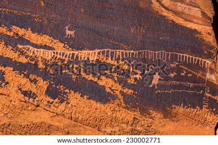 Utah Scenic Byway 279 Rock Art Sites. Indian Writings. These petroglyphs are in the Formative Period style, 800 - 2,000 years old.  - stock photo