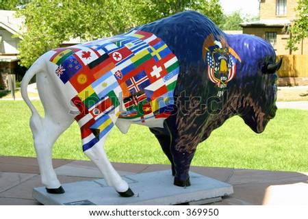 Utah State Capitol Bison Statue - stock photo