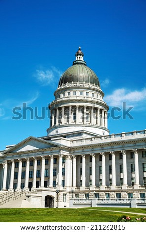 Utah state capitol building in Salt Lake City on a sunny day