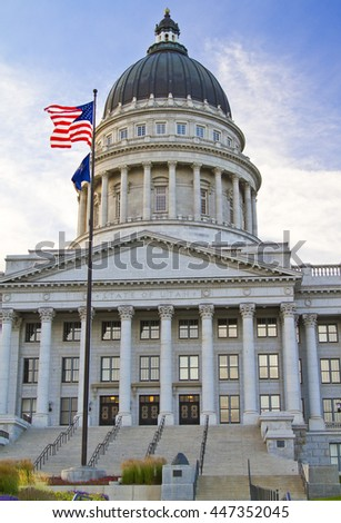 Utah State Capitol building in Salt Lake City with American Flag and Architectural Dome