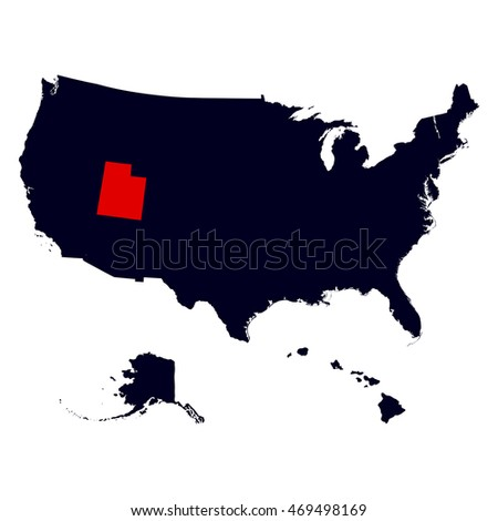 Map Us State Utah Stock Vector Shutterstock Us Map Utah