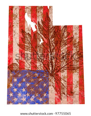 Utah state of the United States of America in grunge flag pattern isolated on white background - stock photo