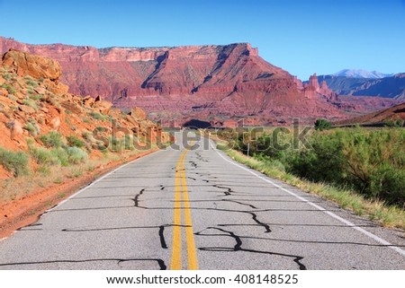 Utah, United States - road through famous Castle Valley.