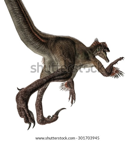 Utahraptor isolated on white background - stock photo