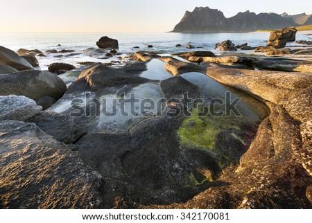 Utakleiv beach on Vestvag Island, Lofoten Archipelago, North Norway, Scandinavia - stock photo
