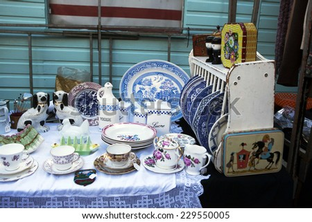 utensils on the flea market - stock photo