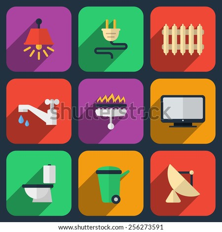 Utilities icons in flat style. Heating and  electricity, water and gas - stock photo