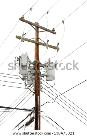 Utility pole hung with electricity power cables and transformers for residential supply - stock photo
