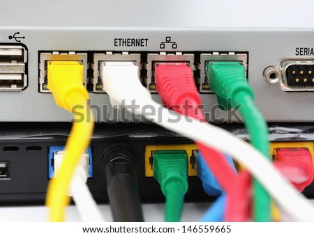 UTP LAN Connect the ethernet port on the back of the router. - stock photo