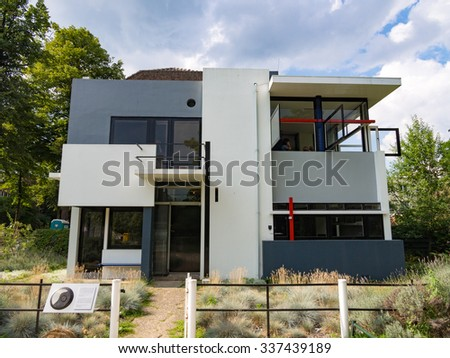 UTRECHT, NETHERLANDS - AUG 28: Rietveld Schroder House in Utrecht, Netherlands on August 28, 2013. Utrecht is the capital and most populous city in the Dutch province of Utrecht. - stock photo