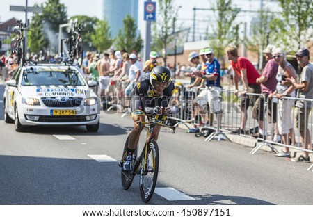 UTRECHT,NETHERLANDS JUL 4:The English cyclist Steve Cummings of   MTN-Qhubeka Team riding during the stage 1 (individual time trial) of Le Tour de France 2015 in Utrecht,Netherlands on 04 July 2015