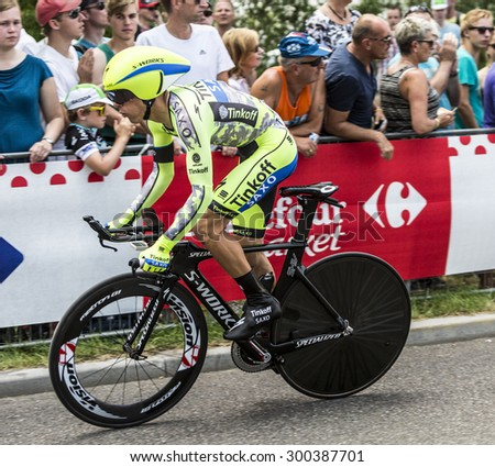 UTRECHT,NETHERLANDS JUL 4:The Polish cyclist Rafal Majka of Tinkoff-Saxo Team riding during the first stage (individual time trial ) of Le Tour de France 2015 in Utrecht,Netherlands on 04 July 2015  - stock photo