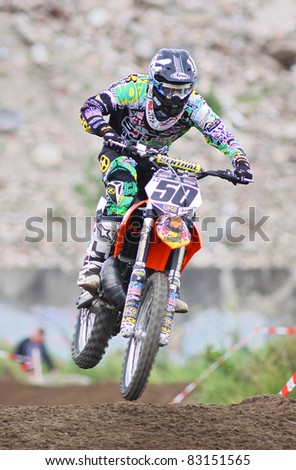 UTRECHT, NETHERLANDS - MAY 29: Unidentified rider from Holland participates in the MX Event on May 29, 2011 in Utrecht, Netherlands.