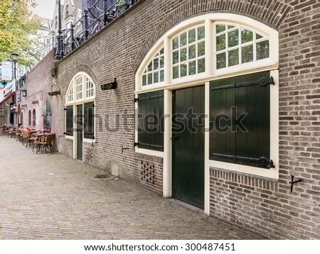 UTRECHT, NETHERLANDS - MAY 21, 2015: Wharf cellars on quay Oudegracht canal in Utrecht, the Netherlands