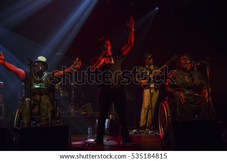 Utrecht, The Netherlands - 11 December 2016: Concert of Congolese band Mbongwana Star at Tivoli Vredenburg in Utrecht