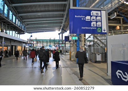 UTRECHT, THE NETHERLANDS, 13 March 2015 - Crowd of passenger op Utrecht Centraal Station, the central railway hub in The Netherlands. - stock photo