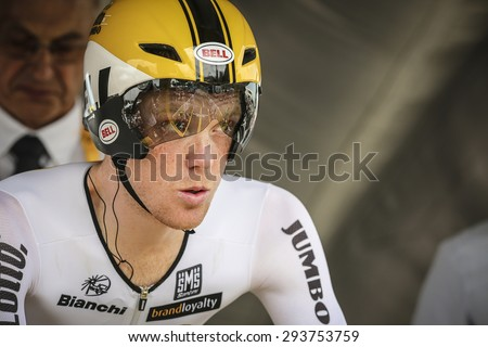 Utrecht, The Netherlands. 4th of July, 2015. Tour de France Time Trial Stage, STEVEN KRUIJSWIJK, Team Lotto Jumbo