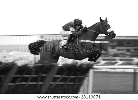 UTTOXETER, UK - MARCH 28: Jockey Jason Maguire riding Villochelly  during selling hurdle race class5 at Uttoxeter, UK, March 28 2009 - stock photo
