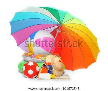 UV protection equipment, sun lotion and floating water toys on a white background. - stock photo