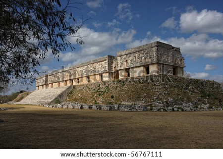 Uxmal Governor's palace, Mexico - stock photo