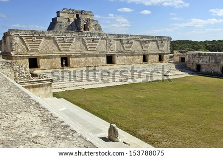 Uxmal, Yucatan, Mexico, 2007. Archeological ruins, built by the Mayas. Closeup of the stairs of an ancient building. - stock photo