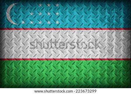 Uzbekistan flag pattern on the diamond metal plate texture ,vintage style - stock photo