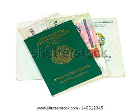 Uzbekistan passport and money isolated on white background