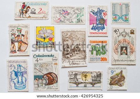 UZHGOROD, UKRAINE - CIRCA MAY, 2016: Collection of post stamps printed in Czechoslovakia, Czecho-Slovakia or Ceskoslovensko,  Czech Republic and Slovakia. - stock photo