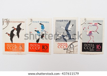 UZHGOROD, UKRAINE - CIRCA MAY, 2016: Collection of postage stamps printed in USSR shows different types of birds , circa 1962 - stock photo