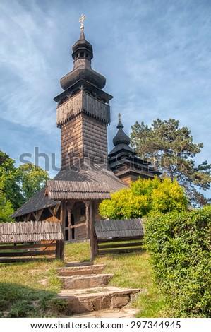 Uzhhorod, Church of the Holy Archangel Michael Originally located at Shelestovo near Mukachevo, relocated to the Museum of Folk Architecture in Uzhhorod in 1974 Built 1777, greek-catholic - stock photo