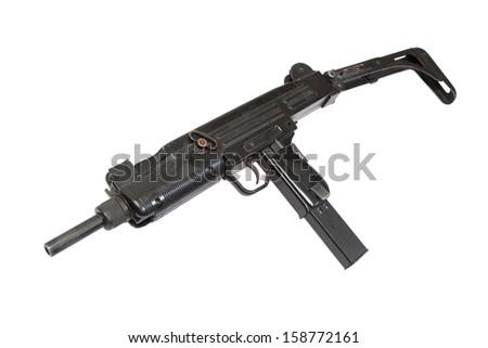 UZI submachine gun isolated on white - stock photo