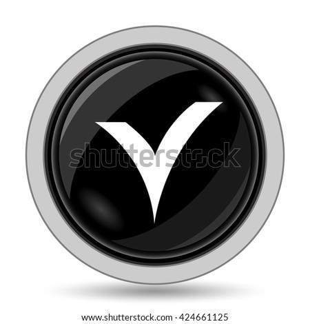 V checked icon. Internet button on white background.