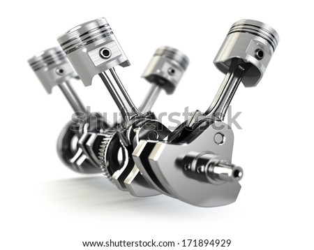 V4 engine pistons and cog. 3d - stock photo