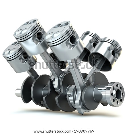 V6 engine pistons. 3D image. - stock photo