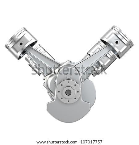 v8 engine pistons on crankshaft front stock illustration. Black Bedroom Furniture Sets. Home Design Ideas