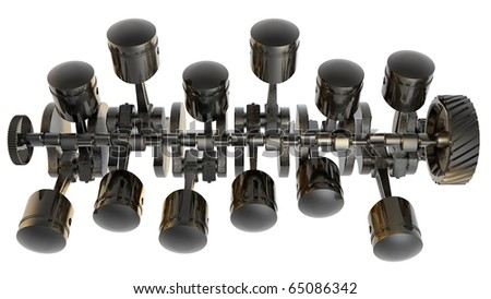 V12 Internal combustion engine 3D isolated on white