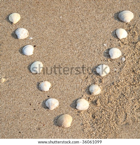 v letter symbol created from shells on a beach sand