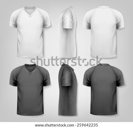 V-neck t-shirts with sample text space.  - stock photo