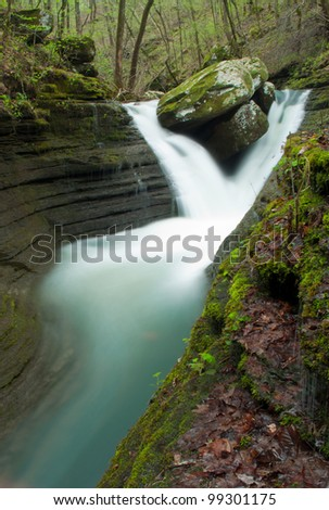 V-Slot falls, a waterfall in the Ozark Mountains. - stock photo